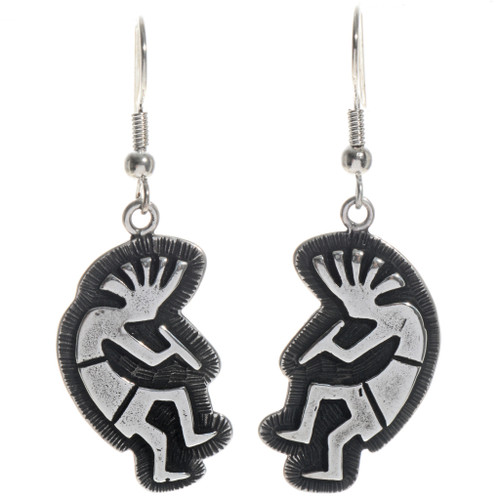 Kokopelli Silver French Hook Earrings 14399