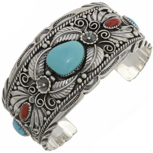 Big Boy Turquoise Coral Cuff Bracelet 26353