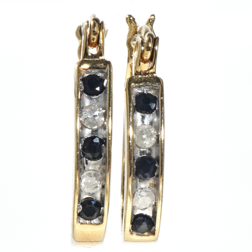 Yellow Gold Diamond Aquamarine Earrings