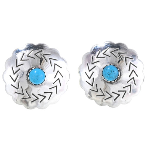 Native American Turquoise Silver Concho Earrings 20657