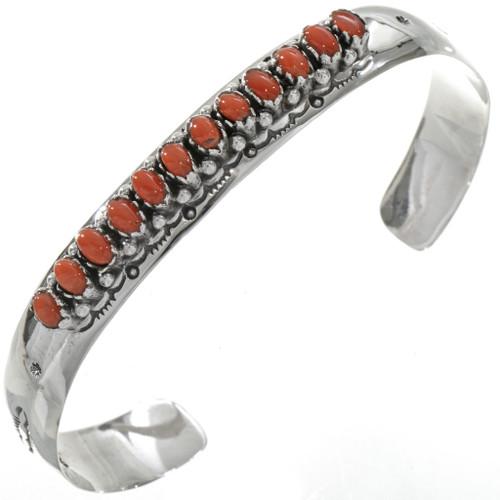 Native American Coral Silver Bracelet 11408
