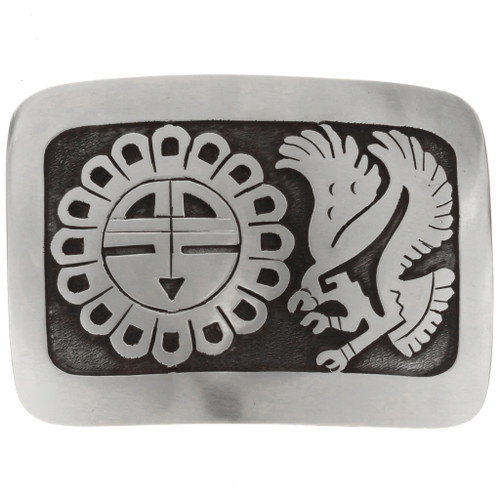 Overlaid Silver Sun Face Belt Buckle 22894