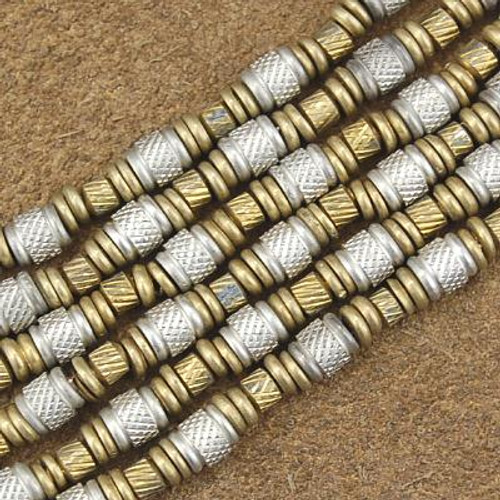 Wholesale Lot of 12 4mm to 5mm Silver and Brass Bali Bead Strands