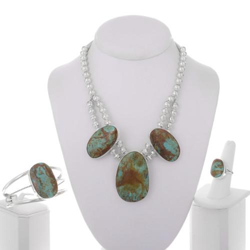 Genuine Ribbon Kingman Turquoise Jewelry Set 16923