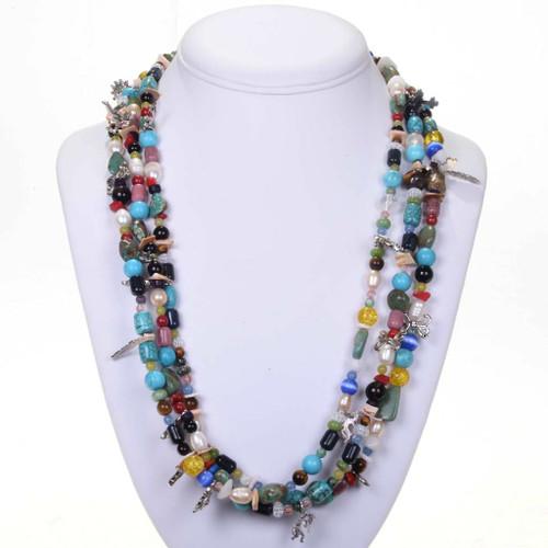 Navajo Treasure Charm and Bead Necklace 25164