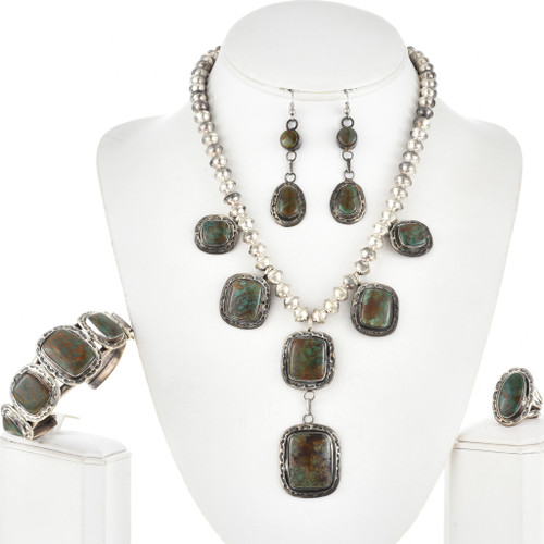Navajo Turquoise Hammered Silver Necklace Set 11274
