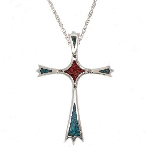 Navajo Christian Turquoise Cross Pendant 25499