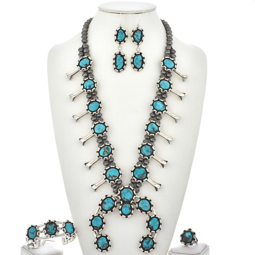 Turquoise Squash Blossom Necklace Set  23816