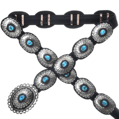 Navajo Turquoise Silver Concho Belt 18604