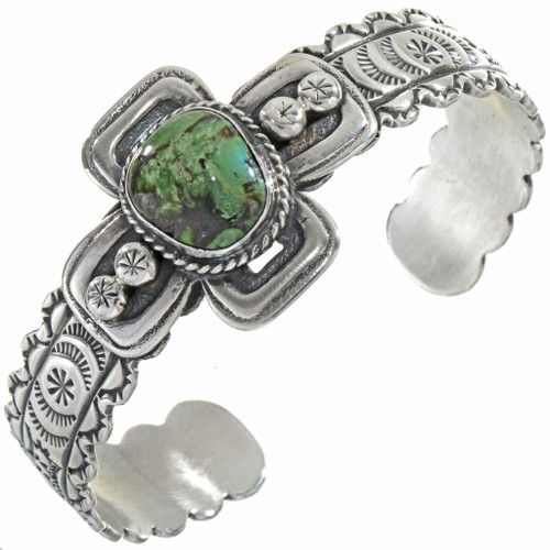 Carico Lake Turquoise Hammered Silver Cuff 16404