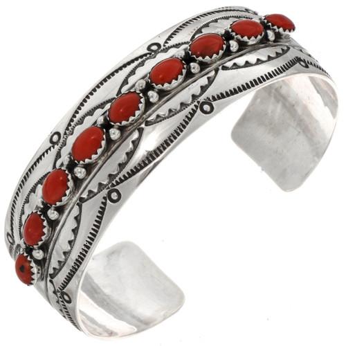 Coral Row Cuff Bracelet 14758