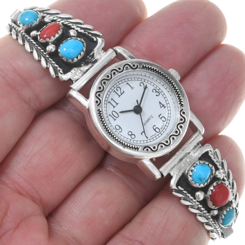 Genuine Turquoise Silver Navajo Watch 23014