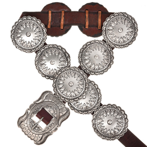 Hammered Sterling Native American Concho Belt 13044