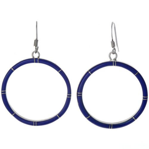 Inlaid Lapis Silver Hoop Earrings 19660