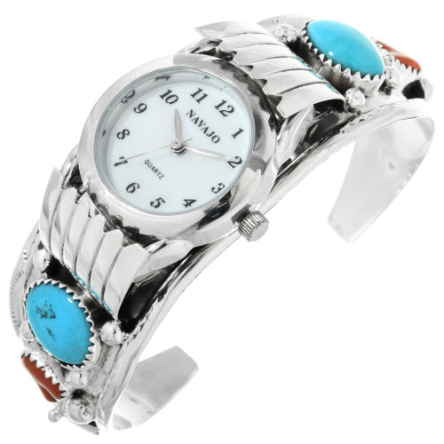 Turquoise Coral Navajo Watch Cuff 24433