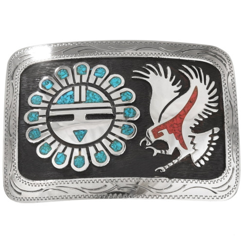 Turquoise Coral Sunface and Eagle Belt Buckle 25273