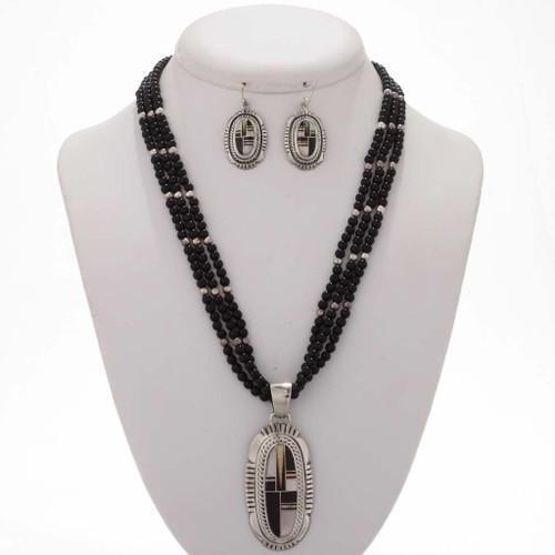 Opal Sterling Southwest Necklace Set 12845