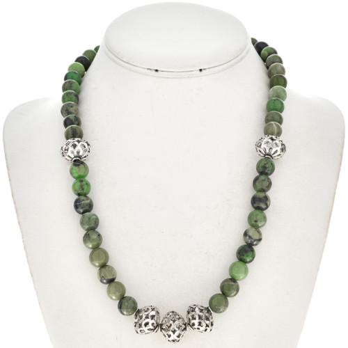 Native American Jade Silver Bead Necklace 22243