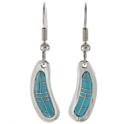 Turquoise Silver French Hook Earrings 18139