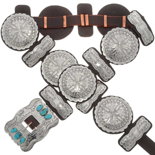 Turquoise Silver Concho Belt 20166