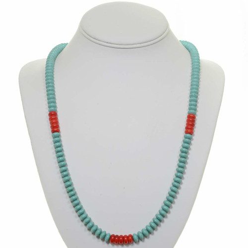 Turquoise Coral Bead Necklace 24719