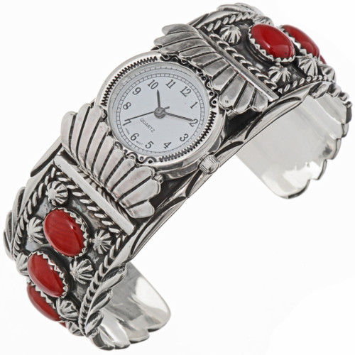Sterling Silver Coral Watch Cuff 30561