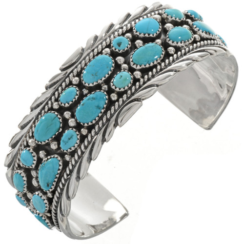 Turquoise Cluster Silver Cuff 27033