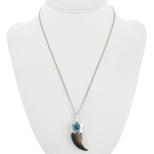 Native American Turquoise Claw Necklace 23612
