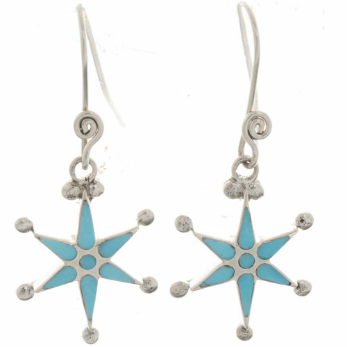 Turquoise Silver French Hook Earrings 26436