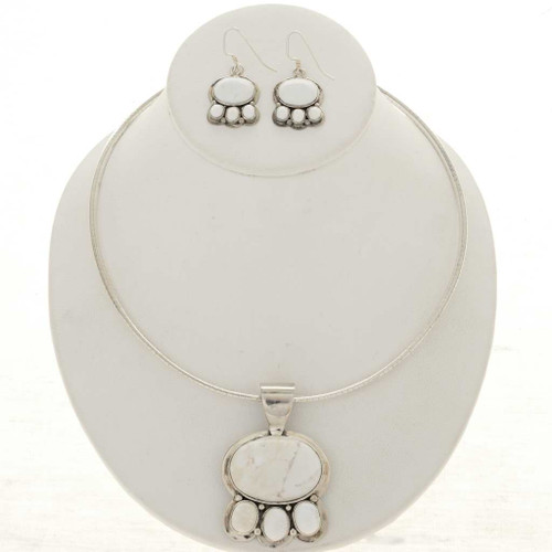 Howlite Silver Navajo Necklace Set 26819