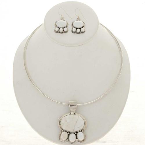 Howlite Silver Navajo Necklace Set 26819