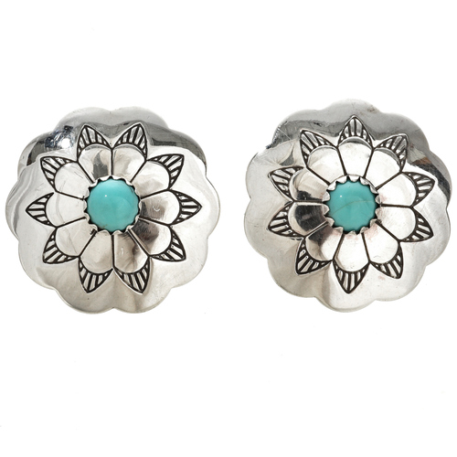 Navajo Turquoise Silver Concho Earrings 20732