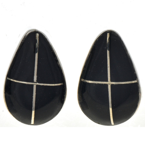 Inlaid Jet Silver Earrings 31268