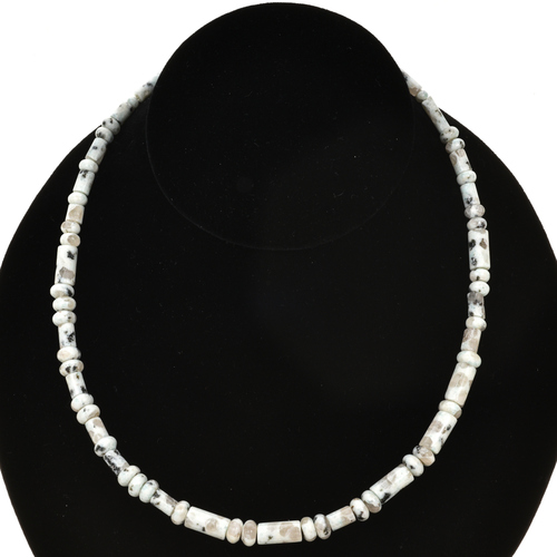 5mm Dalmatian Jasper Tube and Rondel Beads 16 inch Long Strand