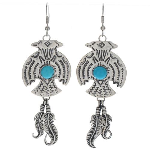 Hammered Silver Thunderbird Earrings 23839