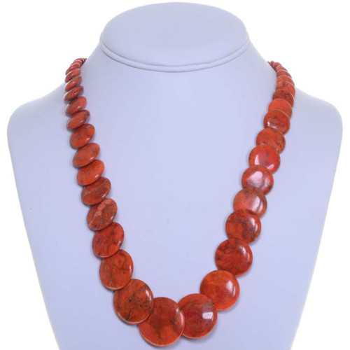 Navajo Apple Coral Beaded Necklace 25178