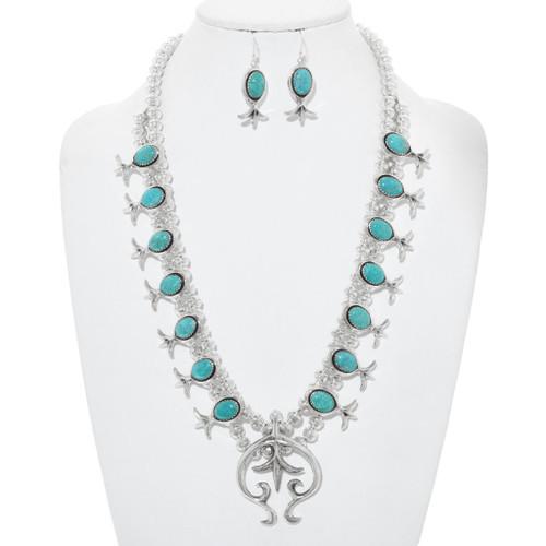 Turquoise Squash Blossom Necklace 24911