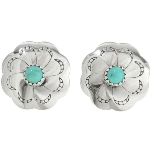 Navajo Silver Concho Turquoise Earrings 20745