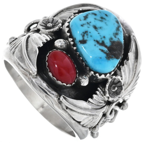 Turquoise Coral Mens Ring 17297