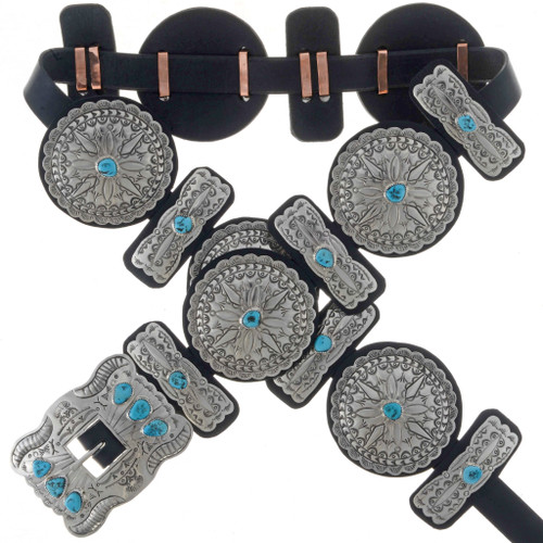 Turquoise Hammered Silver Concho Belt 20172