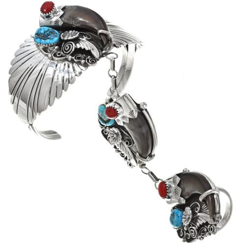 Navajo Bear Claw Attached Bracelet Set 26879