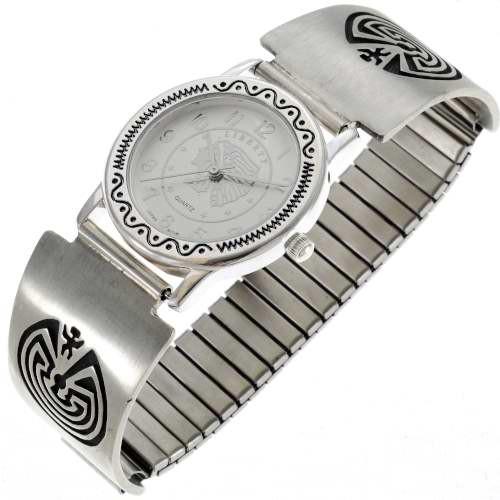 Hopi Man Maze Sterling Silver Watch 24449