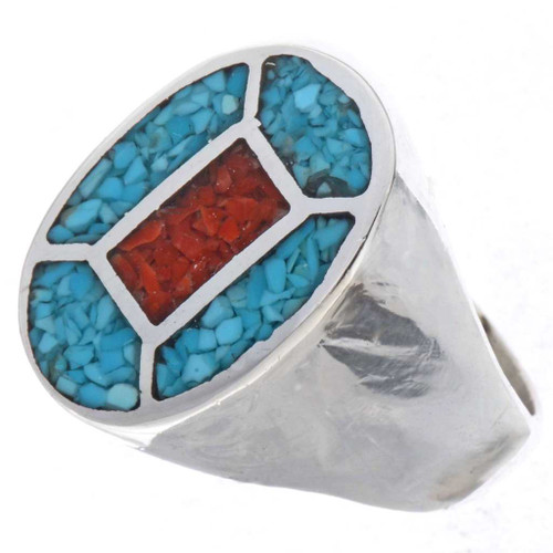 Turquoise Coral Mens Signet Ring 25284