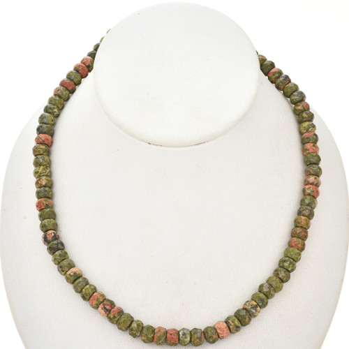 Faceted 8mm Unakite Rondel Beads