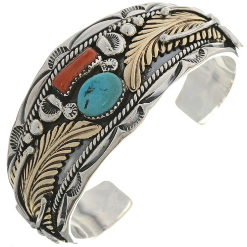 Turquoise Gold Silver Cuff Bracelet 18099