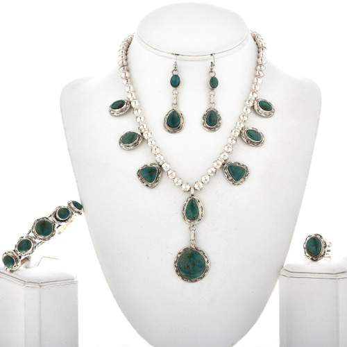 Green Turquoise Silver Y Necklace Set 12463