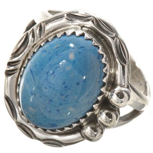 Blue Denim Lapis Silver Navajo Ring 28743