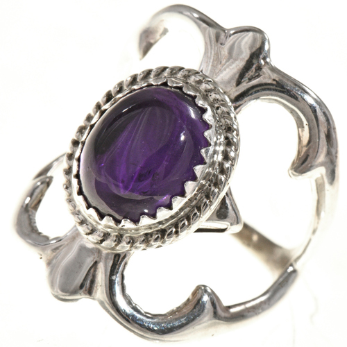 Amethyst Silver Native American Ring 29015