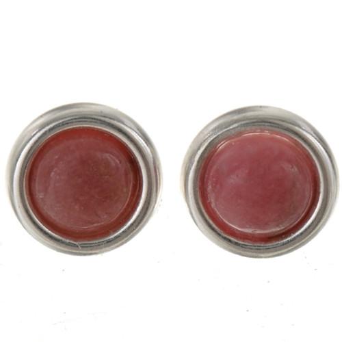 Rhodochrosite Sterling Stud Earrings 28006