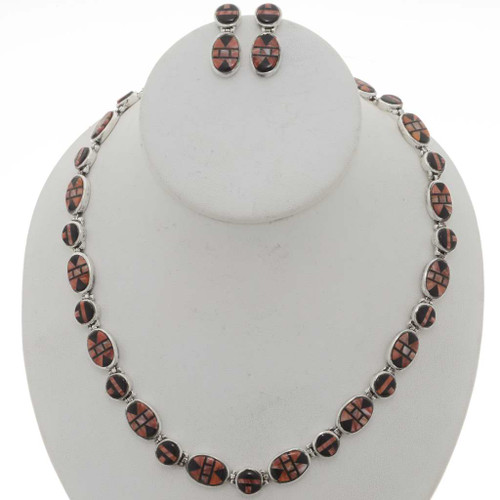 Spiny Oyster Jet Necklace Set 12701